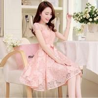free shipping new 2014 summer spring fashion elegant dress women's tops plus size long lace chiffon dress