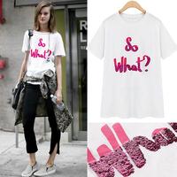 2014 summer women's o-neck slim rhinestones letter short-sleeve t-shirt