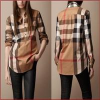 High quality 2014 New Women summer spring Fashion Brand Blouses Women Long Sleeve Plaid Burb Shirts