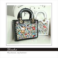 Famous D brand fashinable diamond Women's Children's girls Diana handbags shoulder bag children Tote PU leather free shipping