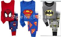 2 pcs set baby boy sleepwear kids cartoon Superman Batman Spiderman 100% cotton long sleeve pajamas sets boys pyjamas for 2 -7 Y