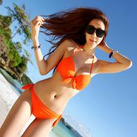 Sportscenter solid color neon steel small push up bikini female swimwear bikini swimwear