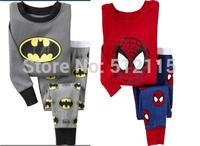 2014 Free Shipping 2pcs Spiderman Batman Tshirt Top Pants Pajamas Sleepwear Sets Suits For Baby Boy Kids Children Infants 2-7Y