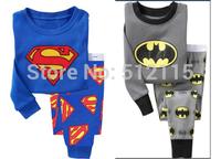 Long Sleeve Children's Pajamas Boys Pijama Sleepwear 1SET/LOT Kids Pyjamas Home Clothes boys superman and batman pajamas sets