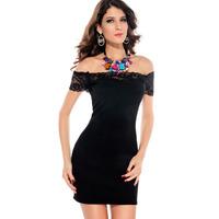 2014 summer lace slit neckline strapless slim hip one-piece dress