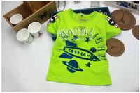 2014 new arrival summer Children 100% cotton top baby girl boy rocket t shirt kid shortsleeve lovely clothing 5pcs/lot