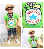 2014 new arrival summer Children 100% cotton top baby girl boy big lucky star t shirt kid shortsleeve lovely clothing 5pcs/lot