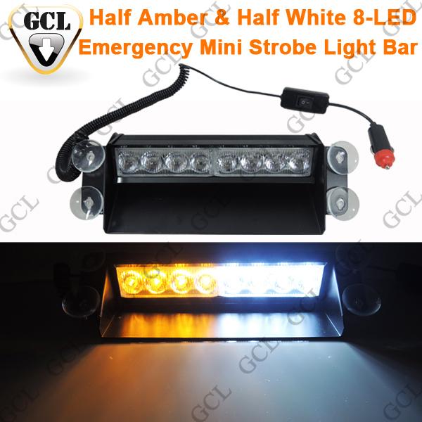 High Power Half Amber & Half White 8-LED Mini Strobe Light Bar Emergency Truck, Vehicle, Police Car, Fire Engine Flash Light(China (Mainland))