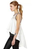 blusas femininas women summer fashion embroidery loose chiffon body black swallowtail chiffon shirt sleeveless tank vest blouses