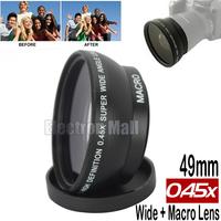 New Arrival!! High Quality Metal 49mm 0.45x Wide Angle + Macro Lens for Sony NEX-6 NEX-5C NEX-5R NEX-5TL 5 3 18-55mm Kit