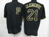 Cheap Stitched Jersey Pittsburgh Pirates 21 Clemente black(Fashion) Men's MLB Baseball Jersey Free Shipping Wholesale From China