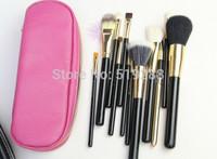 Fashion Hot Sale Pink and Black Professional 12pcs Makeup brush Blusher comestic brushes with leather bag mc brush free dropship