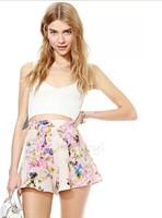 body floral brand new 2014 women shorts for women ink and printing fashion loose high waist chiffon cute female shorts feminino