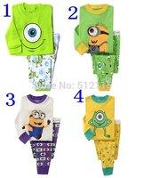 fashion 2014 new toddler boys and girls long sleeve cotton pajamas sets kids minions pyjamas children sleepwear for 2-7years