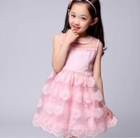 Hot sale! 2014 New Fashion Korean Children Clothing Beautiful Girls Lace Dress Princess Mini Dresses Kid Baby Clothes