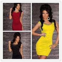 New 2014 4 colors!!!! women autumn 2014 mini bodycon winter dress club wear Sexy New sets bandage Gold chain vestidos tunics