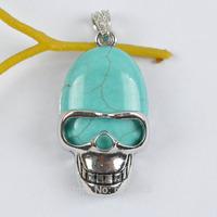 Blue Turquoise Stone Bead Skull Pendant Jewelry Free shipping S1250