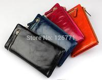"Free Shipping! Fashion Women Top Genuine Leather Bifold Purse Wallet Lady 7"" Long Handbag #001, Black Blue Rose Orange Color"