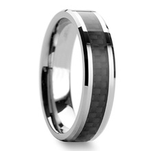 Tailor Made Black Carbon Fiber Inlay 6mm Tungsten Carbide Ring Size 4-18 (#NR056BC)