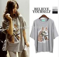 casual women  100% cotton sequins  loose horse  head short sleeve t shirt  maxi blouse
