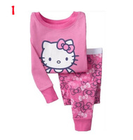 toddler baby girls hello kitty pajams sets kids hello kitty clothing sets for 2-7years children pyjamas suits 10 color fast send
