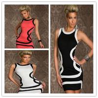 Winter Dress  2014 Women New 2014 Fashion Sexy ropas female stripes casual Club patchwork autumn vestidos plus size