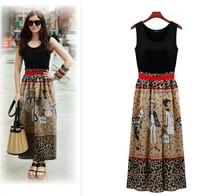 2014 New fashion casual women Dress maxi Ankle-length bodycon straight autumn -summer plus size Exclusive vestido Tunics Elegant
