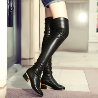 2014 New Women's Black Leather Brogue Oxfords Riding Thigh High Boots Low Chunky Pumps Over the Knee Dress Shoes us4 4.5 5 6 7 8