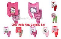 new arrival baby girls hello kitty cartoon designer pajamas suits kids PJS for 2-7years toddler sleepwear for kids pijamas