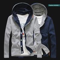 L0676, free shipping hot sale men cardigan, hooded men jacket, zipper double placket men casual hoodie