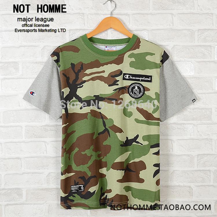 Camouflage t- shirt. couturequalité outillage rue marée de marque hommes autour du cou à manches courtes broderie impression harajuku planche à roulettes