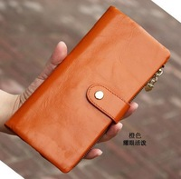 Free Shipping! Fashion Women Top Quality Genuine Leather Bifold Purse Wallet Lady Long Handbag #006, 5 Colors