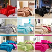 Solid Color imitated silk bedclothes set queen king 4pcs summer quilt/comforter/duvet cover bed linen bedding set home textile
