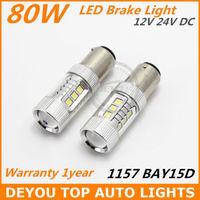 New arrive 2x White 80W SEOUL 1157 BAY15D LED car stop Tail Brake Signal Light Bulb 2357Free shipping