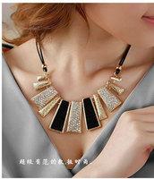 Fashion gem geometry necklace female short design chain hot-selling black white