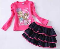 Free shipping frozen elsa anna girl girls suits long sleeve t shirt with skirt outter wear