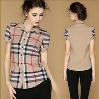 new Spring patchwork 2014 brand design shirt female short shirt professional women's fashion summer Occupation blouse clothing
