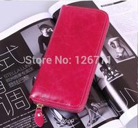 "Free Shipping! Women Genuine Leather Purse Wallet w/ Zipper Around Lady 8"" Long Handbag Clutch #007, 8 Colors"