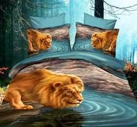 Personalized painting 3d three-dimensional animal 100% cotton four piece set 3D bedding sheets duvet cover leopard