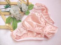 Powder red female silk mulberry silk panties lace panties sexy briefs