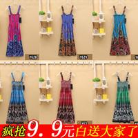 2014 summer plus size clothing chiffon  suspender bohemia full dress