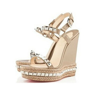 2014 New Design Studded leather and rope wedge sandals studs high heel pump wedges shoe Red bottom shoes