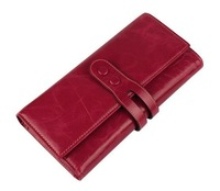 Free Shipping!  Super Quality Lady Women Top GenuineTrifold Leather Purse Wallet Long Handbag Clutch   #011, 5 Colors