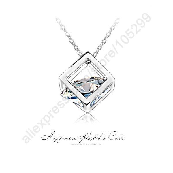 le bonheur rubik cube real pure amende bijoux en argent sterling 925 zircone cubique pendentif collier belle fête accessoires cadeaux