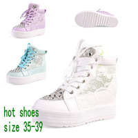 2014 Women Platform Elevator Rhinestone Gauze Lace  Paillettl Beaded Canvas Shoes Sasual Sneaker For Female Fashion Sport Shoes