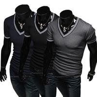 Hot Free Shipping 2014  New mens t shirt Men's Fashion Short Sleeve Tees T Shirts,V-Neck, Good Quality, Drop Shipping,M-XXL