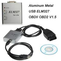 Aluminum Metal USB ELM327 OBDII OBD2 V1.5 CAN-BUS Car Diagnostic Interface Scanner Free Shipping