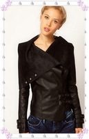 Free shoping NEW ARRIVALS Washed pu leather stitching irregular small leather jacket