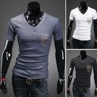 Free Shipping 2014  New mens t shirt Men's Fashion Short Sleeve Tees T Shirts,V-Neck, Good Quality, Drop Shipping,M-XXL