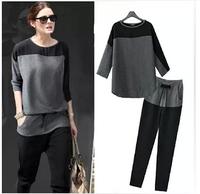 European and American Sleeve stitching casual gray and black retro big yards sport suit women sweatshirt moleton free shipping